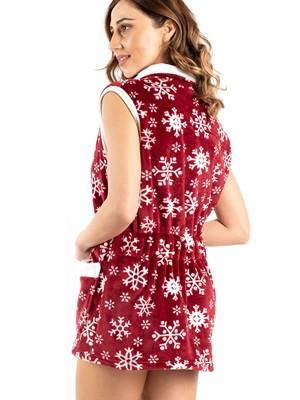 Γυναικεία Ρόμπα BONNE NUIT - Ζεστό & Απαλό Fleece - Snowflakes - Χειμώνας 2020/21