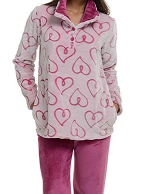 Πυτζάμα Πολυτελείας Bonne Nuit Fleece – All Over Σχέδιο Καρδιές