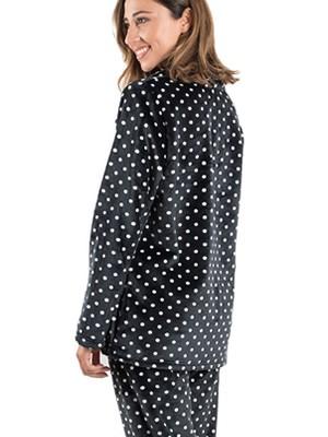 BONNE NUIT Πυτζάμα Πολυτελείας - Ζεστό  Fleece - Dots Πουά Σχέδιο - Χειμώνας 2019/20