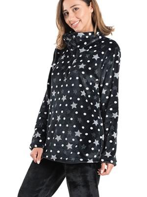 BONNE NUIT Πυτζάμα Πολυτελείας - Ζεστό  Fleece - All Over Σχέδιο - Χειμώνας 2019/20