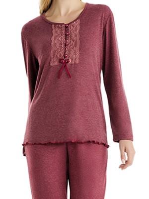 Πυτζάμα Γιώτα Homewear - Γεμάτο Βαμβάκι - Δαντέλα & Κουμπιά - Χειμώνας 2018/19