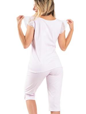 Πυτζάμα ΓΙΩΤΑ Homewear - 100% Βαμβακερή - Καρό Σχέδιο & Δαντέλα - Νέα Μαμά - Καλοκαίρι 2020