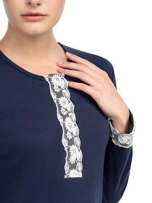 Νυχτικό ΓΙΩΤΑ Homewear - 100% Βαμβακερή - Δαντέλα & Κουμπιά - Χειμώνας 2020/21