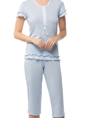Πυτζάμα Γιώτα Homewear - 100% Βαμβακερό - Dots Πουά & Βολάν