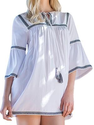 Φόρεμα - Καφτάνι Harmony Boho Style 602 - Αέρινο Ύφασμα & Φούντες