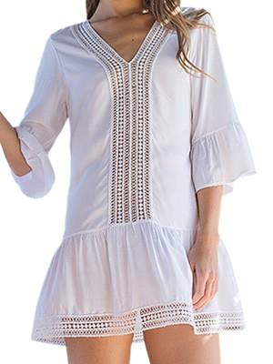 Φόρεμα Beachwear Harmony - Αέρινο Ύφασμα - Σχέδιο Κέντημα & Βολάν