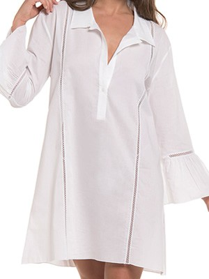Φόρεμα Καφτάνι Harmony - Απαλό Αέρινο Ύφασμα - Σχέδιο Κέντημα & Κουμπιά