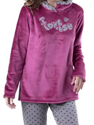 Πυτζάμα Πολυτελείας Kare Μωβ - Ζεστό  Fleece - All Over Σχέδιο