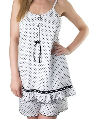 Set Homewear Γυναικείο Kare - Αέρινο Ύφασμα - Dots Πουά & Σατέν Βολάν