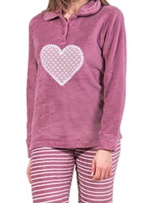 Πυτζάμα Homewear Karelpiu - Ζεστό & Απαλό Fleece - Ριγέ Παντελόνι