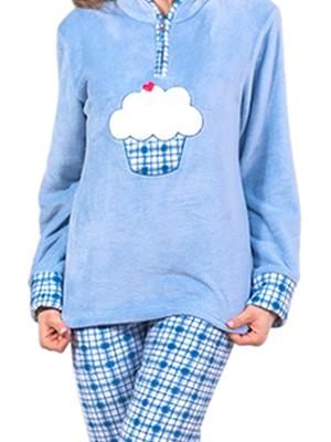 Πυτζάμα Homewear Karelpiu - Ζεστό & Απαλό Fleece - Γούνινο Σχέδιο Κέντημα
