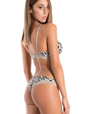 LORMAR Set Super Push Up + Brazilian Slip - Animal Print - Χειμώνας 2019/20