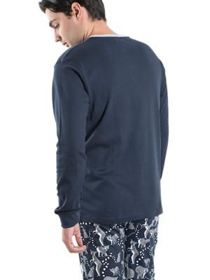 Ανδρική Πυτζάμα Homewear MEI - 100% Βαμβακερή - All Over Σχέδιο - Χειμώνας 2019/20