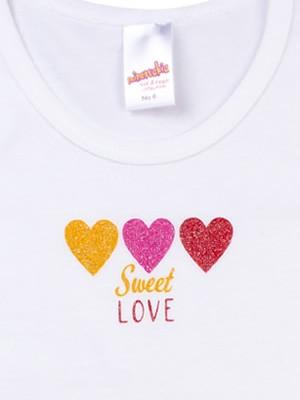 Παιδικό Φανελάκι MINERVA Κοντό Μανίκι Love Glitter - 100% Αγνό Βαμβάκι - Χειμώνας 2020/21