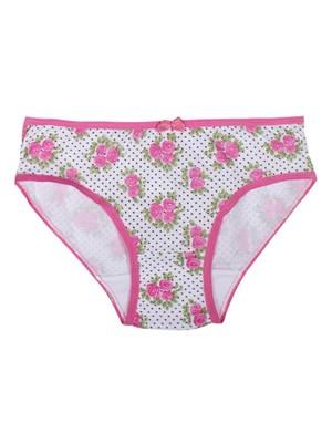 Παιδικό-Εφηβικό Σλιπ MINERVA Dots - Floral για κορίτσι - 100% Αγνό Βαμβάκι - 3 τεμάχια