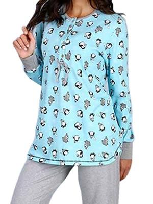 Πυτζάμα Γυναικεία Minerva Penguin - 100% Βαμβάκι Interlock - Νέα Μαμά - Hot Pick 18-19