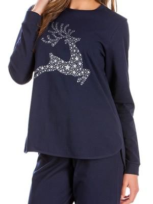 Πυτζάμα Γυναικεία Minerva Xmas Deer - 100% Interlock Βαμβάκι - Χειμώνας 2018/19