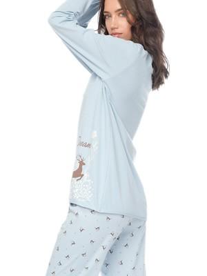 Πυτζάμα Γυναικεία MINERVA Deer - 100% Βαμβάκι Interlock - Νέα Μαμά - Stay Home 2020