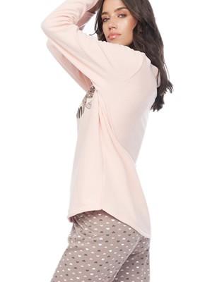 Πυτζάμα Γυναικεία MINERVA Stay Warm & Deer - Γεμάτο Fleece - All Over Σχέδιο - Smart Choice FW20/21