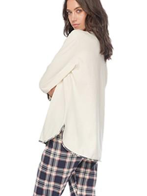 Πυτζάμα Γυναικεία MINERVA PJ'S All Day - 100% Βαμβάκι Interlock - Καρό Παντελόνι - Back To School FW20/21