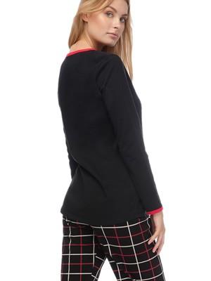 Πυτζάμα Γυναικεία MINERVA Roses - 100% Βαμβάκι Interlock - Καρό Παντελόνι - Back To School FW20/21
