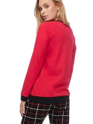 Πυτζάμα Γυναικεία MINERVA Dog & Roses - 100% Βαμβάκι Interlock - Καρό Παντελόνι - Χειμώνας 2019/20
