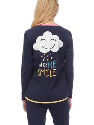 Πυτζάμα Γυναικεία MINERVA Always Smile - 100% Βαμβάκι Interlock - Χειμώνας 2019/20