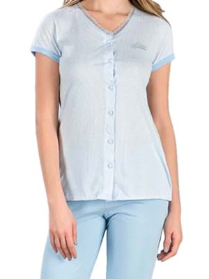 Πυτζάμα Γυναικεία MINERVA Stripe Sky - 100% Βαμβακερή -  Νέα Μαμά - Hot Pick SS19
