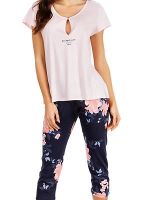 Γυναικεία Πυτζάμα MINERVA Roses - Αέρινο Modal & Βαμβάκι - Floral Παντελόνι - Καλοκαίρι 2019