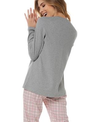Πυτζάμα Γυναικεία MINERVA Love Weekend - 100% Βαμβάκι Interlock - Καρό Παντελόνι - Χειμώνας 2020/21