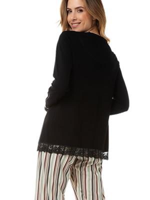 Πυτζάμα Γυναικεία MINERVA Stripe - Απαλό Βαμβάκι Modal - Δαντέλα - Χειμώνας 2020/21