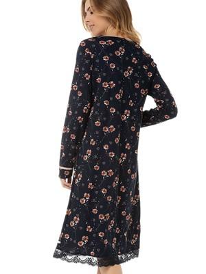 Γυναικείο Νυχτικό MINERVA Floral - Απαλό Βαμβάκι Modal - Δαντέλα & Κουμπιά - Χειμώνας 2020/21