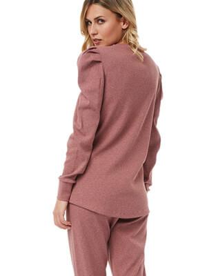 Πυτζάμα Γυναικεία MINERVA - Rib Ύφασμα - Puffy Sleeves - Χειμώνας 2021/22