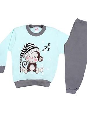 Βρεφική Πυτζάμα MINERVA για αγόρι Monkey & Bear - 100% Aγνό Βαμβάκι - Χειμώνας 2019/20