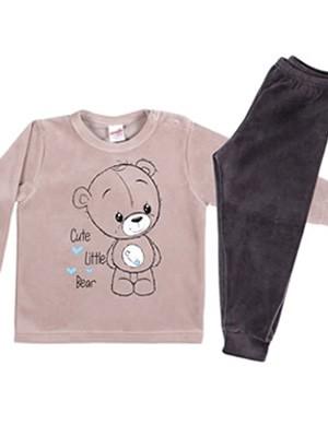 MINERVA Βρεφική Πυτζάμα Cute Bear - Απαλό Βελούδο - Back To School FW20/21