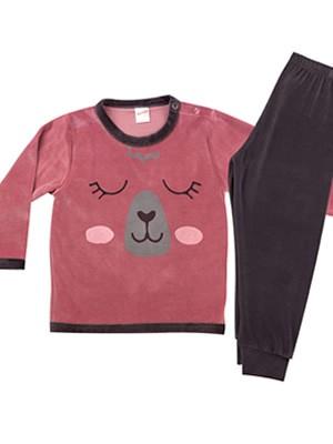 Βρεφική Πυτζάμα MINERVA Bear για κορίτσι - Απαλό Βελούδο - Χειμώνας 2020/21