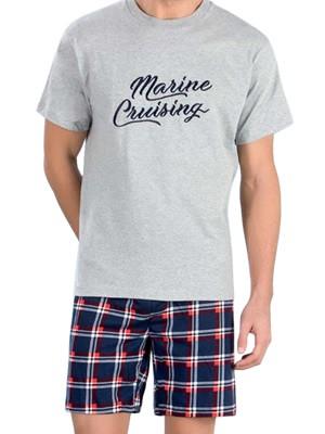 Αντρική Πυτζάμα MINERVA Marine Cruising - 100% Βαμβάκι - Καρό Παντελόνι - Hot Pick SS19