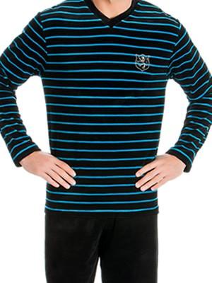Ανδρική Πυτζάμα Πολυτελείας Minerva Velvet Stripes - Απαλό Βελούδο - Χειμώνας 2018/19