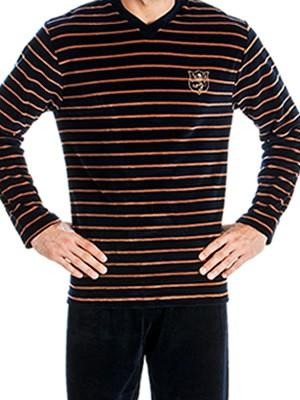 Ανδρική Πυτζάμα Πολυτελείας Minerva Velvet Stripes -  Βελούδο - Χειμώνας 2018/19