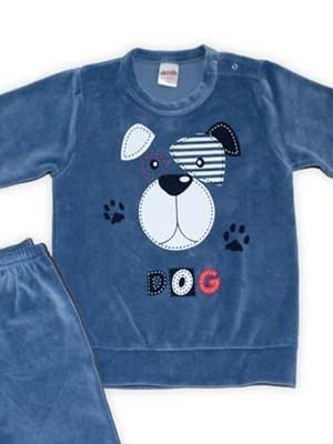 Βρεφική Πυτζάμα-Φόρμα Minerva BABY DOG - Bελούδινη - Λάστιχο στο Παντελόνι
