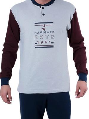 Ανδρική Πυτζάμα Homewear Navigare Υπερμεγέθη - 100% Βαμβάκι Interlock - Χειμώνας 18/19