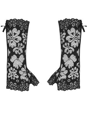 Obsessive 856 Mittens - Γάντια από Floral Δαντέλα - Σατέν Φιόγκοι