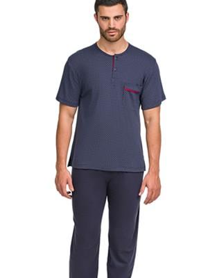 Ανδρική Πυτζάμα ΟΔΥΣΣΕΥ - 100% Βαμβακερή - Μακρύ & Κοντό Παντελόνι