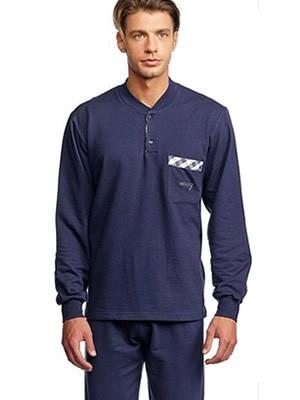 Ανδρική Πυτζάμα  ODYSSEY Βαμβακερή Interlock με Κουμπιά - Πρακτική Tσέπη