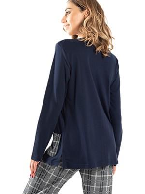 Πυτζάμα SECRET POINT - 100% Βαμβακερή - Καρό Παντελόνι & Κουμπιά - Smart Choice FW20/21