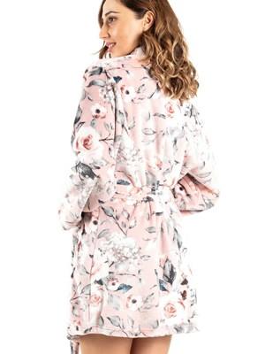 Ρόμπα SECRET POINT - Ζεστό & Απαλό Fleece - Floral Σχέδιο - Smart Choice FW21/22