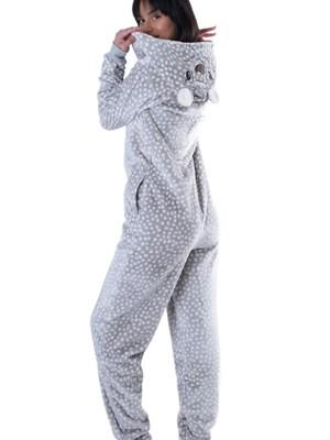 Ολόσωμη Πυτζάμα Vienetta - Ζεστό Fleece - All Over Dots Πουά - Χειμώνας 2018/19